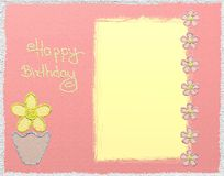 Happy birthday glitter card. With flowers stock illustration