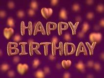 Happy birthday, glitter letters. 3d Stock Photo