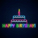 Happy birthday glowing neon sign with cake, candle and comic inscription. Birthday cake celebration symbol in neon style