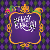 Happy birthday Gold frame checkerboard background Stock Photography
