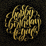 Happy Birthday gold text for greeting card, invitation Royalty Free Stock Photo