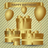 Happy birthday gold theme with gifts and balloons eps10 Stock Photos