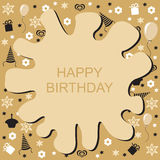 Happy Birthday golden card with blob Royalty Free Stock Image