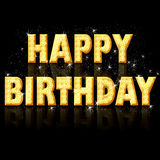 Happy birthday - golden letters. Happy birthday, golden text with glitter and sparkles Royalty Free Stock Photography