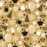 Happy Birthday golden pattern seamless Royalty Free Stock Photography