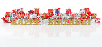 Happy birthday golden text and red and silver gifts Stock Photography