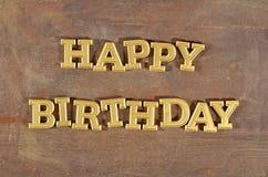 Happy birthday golden text stock image