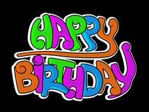 Happy birthday graffiti. Balck background Stock Images