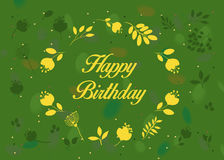 Happy birthday. Green floral card Royalty Free Stock Photo