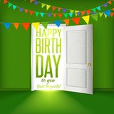Happy birthday green room with flags Royalty Free Stock Photo