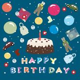 Happy birthday - greeting background for kids Royalty Free Stock Image