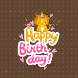 Happy Birthday greeting background with a lion. Stock Photo