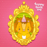 Happy Birthday greeting background with a lion. Royalty Free Stock Image
