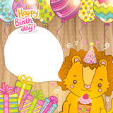 Happy Birthday greeting background with a lion. Royalty Free Stock Photo