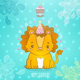 Happy Birthday greeting background with a lion. Royalty Free Stock Photography