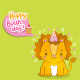 Happy Birthday greeting background with a lion. Stock Images
