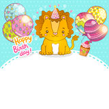 Happy Birthday greeting background with a lion. Royalty Free Stock Photos