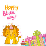 Happy Birthday greeting background with a lion. Stock Photography
