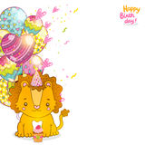 Happy Birthday greeting background with a lion. Stock Photos