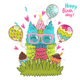 Happy Birthday greeting background with an owl Royalty Free Stock Photos