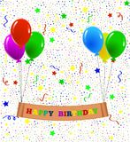 Happy Birthday Greeting with Balloons and Confetti. Colorful birthday greeting card with balloons Royalty Free Stock Image