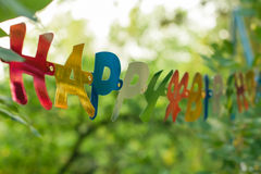 Happy Birthday Greeting Banner. Happy Birthday Greeting Colorful Banner. Detail from backyard party Royalty Free Stock Photos
