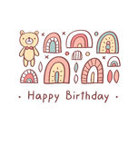 Happy birthday greeting bear Royalty Free Stock Images