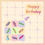 Happy Birthday. Greeting birth card with sweet. Postcard with candy. Happy Birthday vector illustration. Greeting birth card with different sweet. Postcard vector illustration