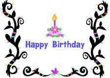 Happy Birthday Greeting and Cake with Tattoo Borde Royalty Free Stock Photography