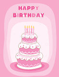Happy birthday greeting card. Colorful decorated birthday cake with candles happy birthday letters. illustration for birthday greeting cards for someone special Stock Images