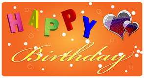 Happy Birthday Greeting Card. Colourful birthday greeting card with letters and heart shpes Royalty Free Stock Photo