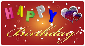 Happy Birthday Greeting Card. Colourful birthday greeting card with letters and heart shpes Stock Image