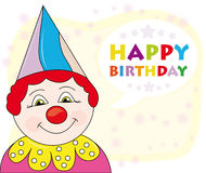 Happy birthday greeting card. Colorful happy birthday greeting or invitation card with cheerful clown Royalty Free Stock Photography