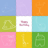 Happy birthday greeting card. Funny happy birthday greeting card Stock Photo