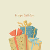 Happy birthday greeting card. Happy birthday card with three gifts Royalty Free Stock Images