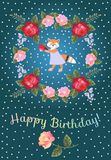 Happy birthday greeting card for baby with cute lovely fox and wreath of red and pink roses and bellflowers. Happy birthday greeting card for baby with cute stock illustration
