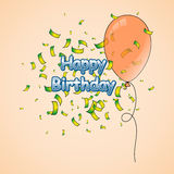 Happy Birthday Greeting Card with balloon and confetti Royalty Free Stock Photos
