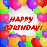 Happy Birthday. Greeting card with balloons. Birthday card. Flat design,  illustration Stock Image