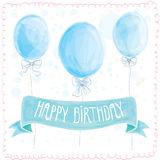 Happy birthday greeting card. Balloons. Blue congratulation Royalty Free Stock Images