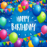 Happy Birthday greeting card with balloons, flags and confetti. Birthday greeting card with balloons, flags and confetti on blurred blue background with stars Royalty Free Stock Image