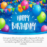 Happy Birthday greeting card with balloons, flags and confetti. Birthday greeting card with balloons, flags and confetti on blurred blue background with stars Stock Image