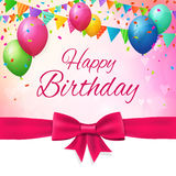 Happy birthday greeting card with balloons and flags. Layered Stock Images