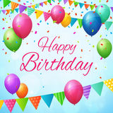 Happy birthday greeting card with balloons and flags. Layered Royalty Free Stock Photo