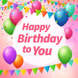Happy birthday greeting card with balloons and flags. Layered Stock Image