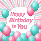 Happy birthday greeting card with balloons. Layered Royalty Free Stock Photography