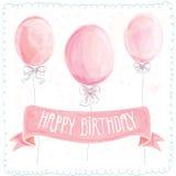 Happy birthday greeting card. Balloons. Pink congratulation Stock Photos