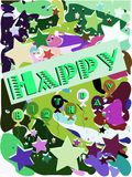 Happy birthday greeting card with balloons and stars Stock Images