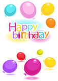 Happy birthday! Greeting card with a balloons. Stock Images