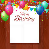 Happy birthday greeting card with balloons on wwod background. Royalty Free Stock Photos