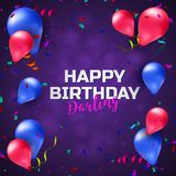 Happy birthday greeting card or banner with colorful balloons, confetti and place for your text Stock Image